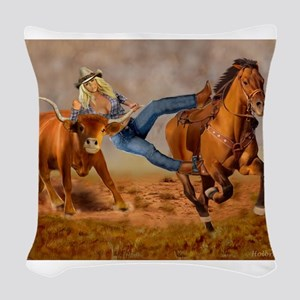COWGIRL STEER WRESTLING Woven Throw Pillow