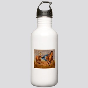 COWGIRL STEER WRESTLING Water Bottle