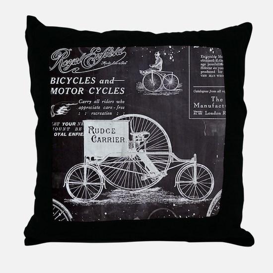 french paris vintage bike Throw Pillow