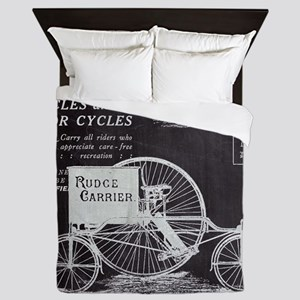 french paris vintage bike Queen Duvet