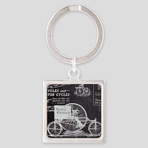 french paris vintage bike Square Keychain