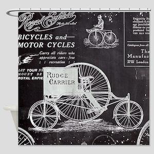 french paris vintage bike Shower Curtain