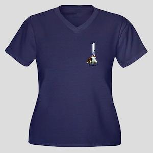 Aussie Weavi Women's Plus Size V-Neck Dark T-Shirt