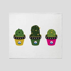 Cactuses in pots Throw Blanket