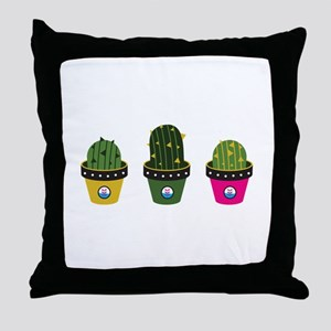 Cactuses in pots Throw Pillow