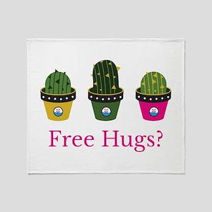 Free hugs? cactuses Throw Blanket