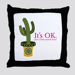 Peach fuzz cactus Throw Pillow