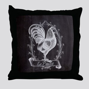 chalkboard french country rooster Throw Pillow