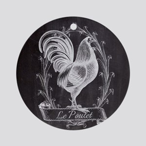 chalkboard french country rooster Round Ornament