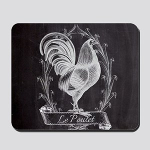 chalkboard french country rooster Mousepad