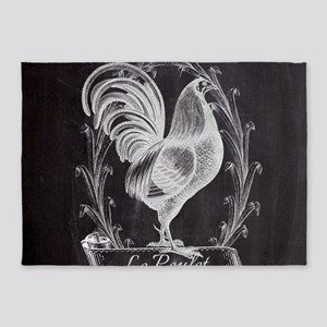 chalkboard french country rooster 5'x7'Area Rug