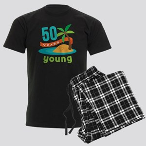50th Birthday (Hawaiian) Men's Dark Pajamas