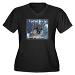 Fox Coat Women's Plus Size V-Neck Dark T-Shirt