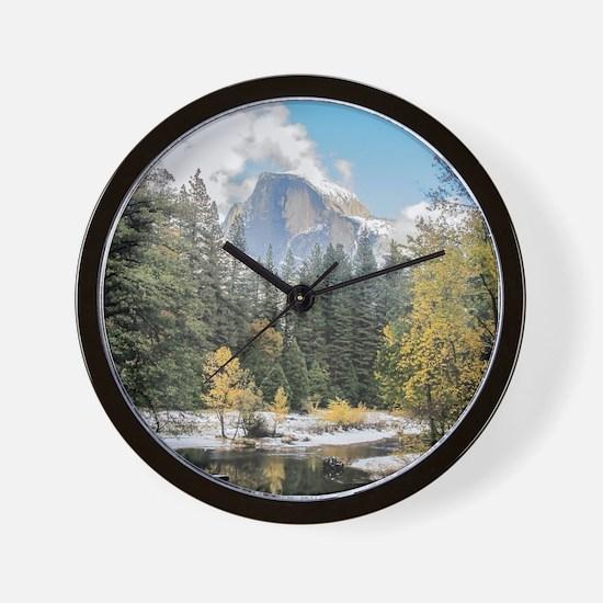 Autumn Mountain & River Scene Wall Clock