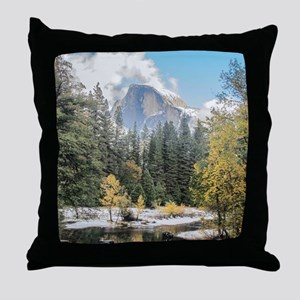 Autumn Mountain & River Scene Throw Pillow