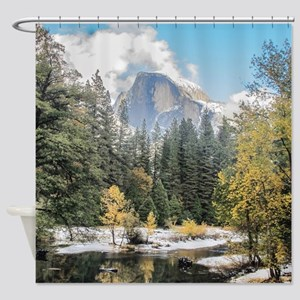 Autumn Mountain & River Scene Shower Curtain