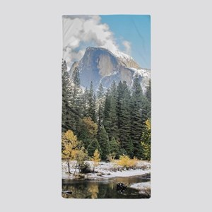 Autumn Mountain & River Scene Beach Towel