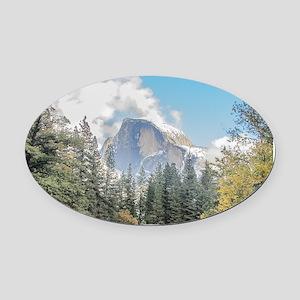 Autumn Mountain & River Scene Oval Car Magnet