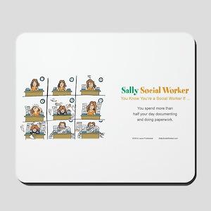 Sally Social Worker doing more paperwork Mousepad