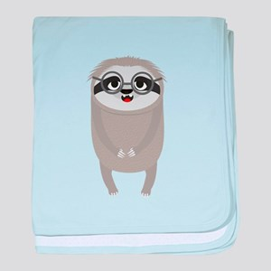 Nerd Sloth with Glasses baby blanket