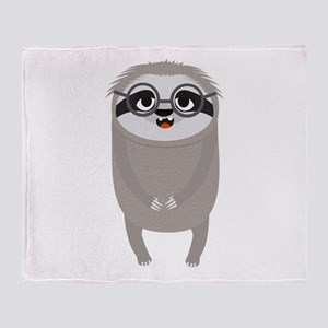 Nerd Sloth with Glasses Throw Blanket