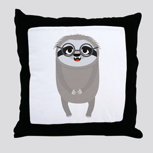 Nerd Sloth with Glasses Throw Pillow
