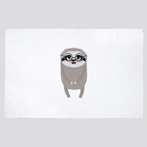 Nerd Sloth with Glasses 4' x 6' Rug