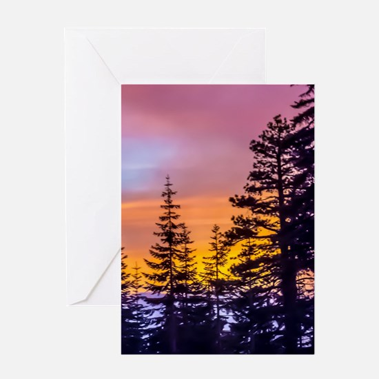 Evergreen Sunset Greeting Card