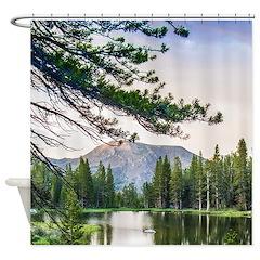 Peaceful Mountain Pond Shower Curtain