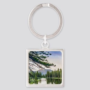Peaceful Mountain Pond Square Keychain