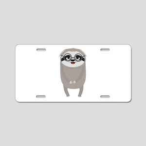 Nerd Sloth with Glasses Aluminum License Plate