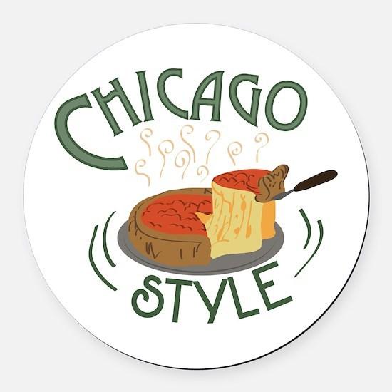 Chicago Sign Round Car Magnet