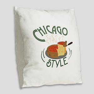 Chicago Sign Burlap Throw Pillow