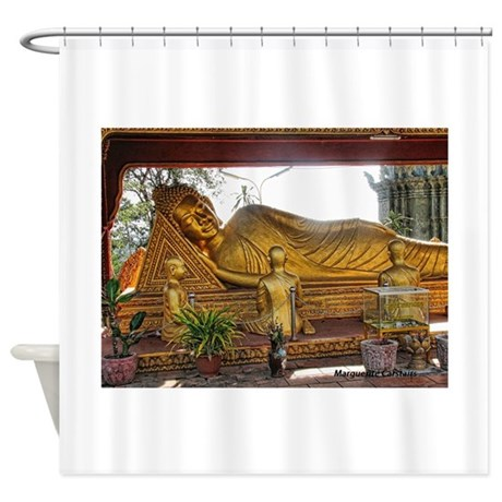 Happy buddha asian shower curtain