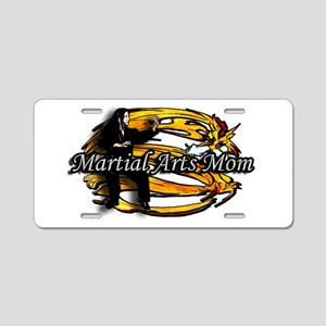 Martial Arts Mom White Aluminum License Plate