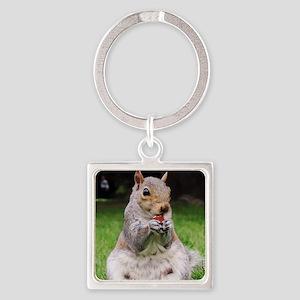 Cute Squirrel Enjoying Nut Square Keychain