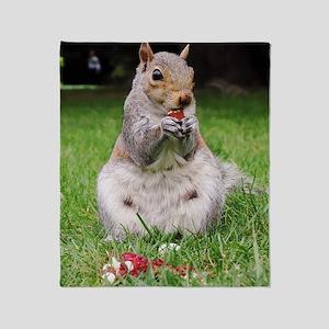 Cute Squirrel Enjoying Nut Throw Blanket