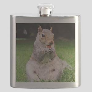 Cute Squirrel Enjoying Nut Flask