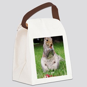 Cute Squirrel Enjoying Nut Canvas Lunch Bag