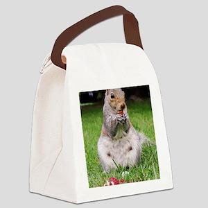 Cute Squirrel Enjoying Nut Canvas Lunch Bag