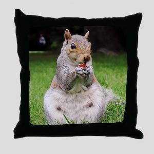Cute Squirrel Enjoying Nut Throw Pillow
