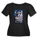 Raccoon Coat Women's Plus Size Scoop Neck Dark T-S