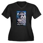 Raccoon Coat Women's Plus Size V-Neck Dark T-Shirt