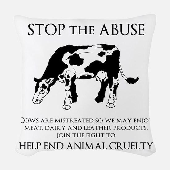 Cow Abuse Woven Throw Pillow