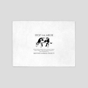 Cow Abuse 5'x7'Area Rug