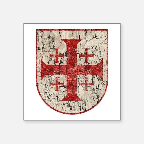 "Jerusalem Cross, Distressed Square Sticker 3"" x 3"""