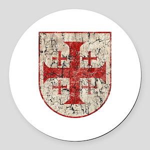 Jerusalem Cross, Distressed Round Car Magnet