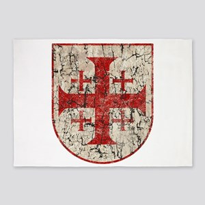Jerusalem Cross, Distressed 5'x7'Area Rug