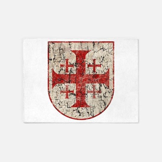 Jerusalem Cross, Distressed 5'x7'Area Rug
