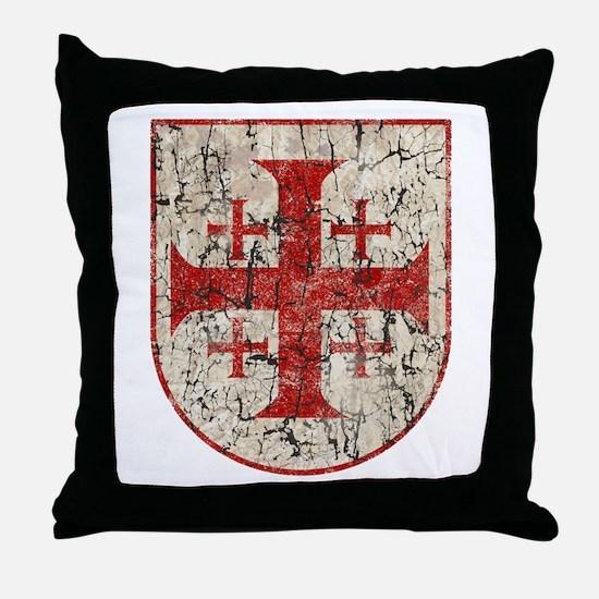 Jerusalem Cross, Distressed Throw Pillow